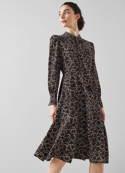Mortimer Black and White Floral Print Wool-Blend Dress