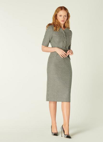Nina Black & White Dogtooth Check Dress