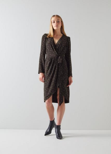 Selene Black Floral Print Wrap Dress