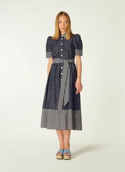 Smith Navy and Cream Spot Print Cotton-Silk Shirt Dress