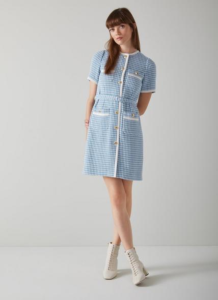 Valentina Blue and Cream Houndstooth Tweed Dress