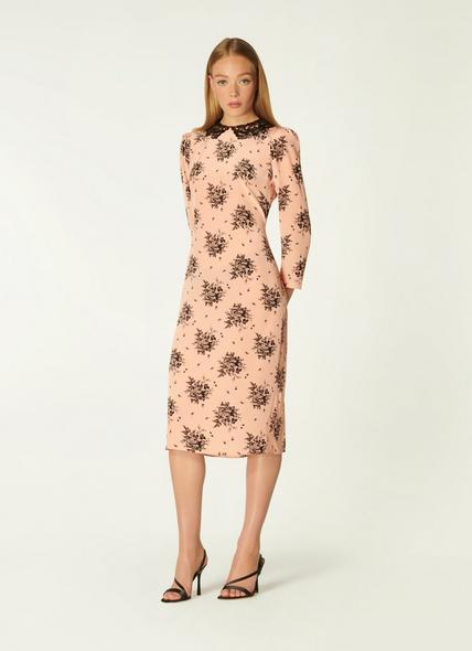 Yoko Pink and Black Toile Print Silk Dress
