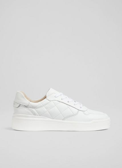 Campbell White Leather Quilted Trainers
