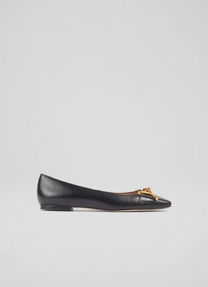 Charlotte Black Leather Snaffle-Detail Flats