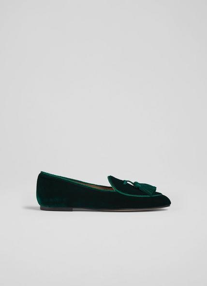 Liberty Green Velvet Tassel-Detail Slippers
