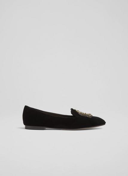 Milano Black Velvet Embellished Slippers