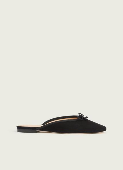 Penelope Black Suede Flats