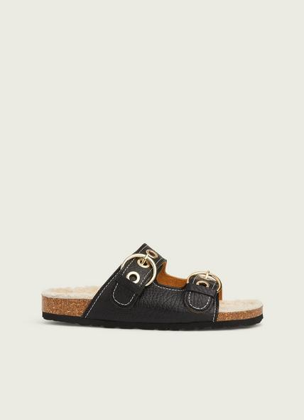 Romeo Black Grained Leather Shearling Flat Sandals