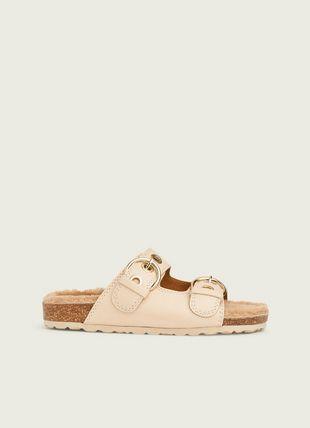 Romeo Camel Grainy Leather Flat Sandals