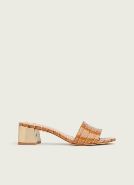 Maeva Camel Croc Effect Sandals