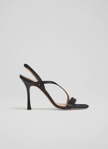 November Black Satin Strappy Sandals