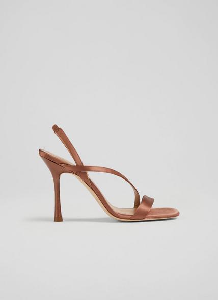 November Brown Satin Strappy Sandals