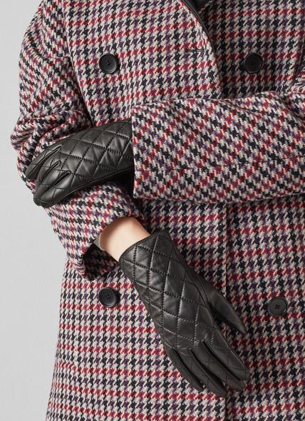 Anna Black Leather Quilted Gloves
