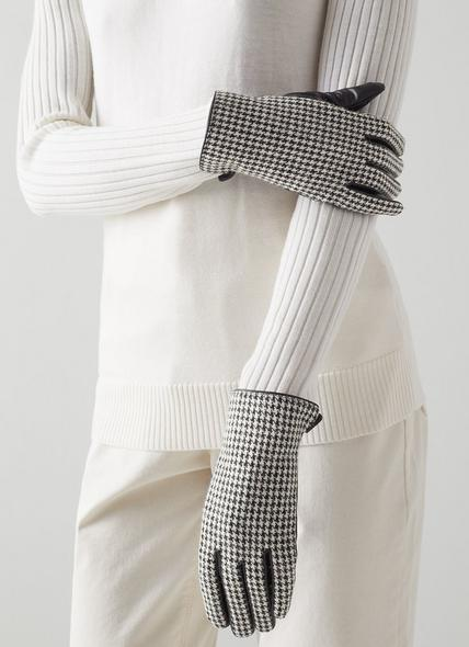 Cordelia Houndstooth Fabric and Black Leather Gloves