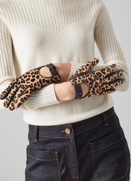 Laura Leopard Print Calf Hair Gloves