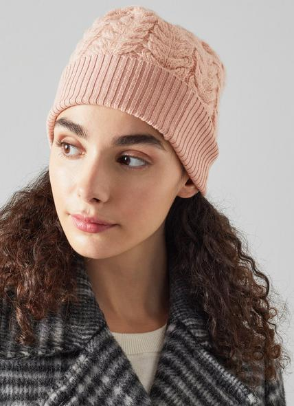 Michelle Pink Mohair-Blend Cable Knit Beanie Hat