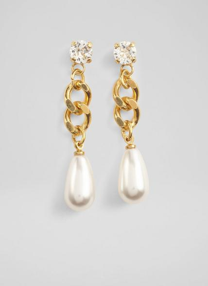 Freeda Swarovski Pearl Drop Gold-Plated Hoop Earrings