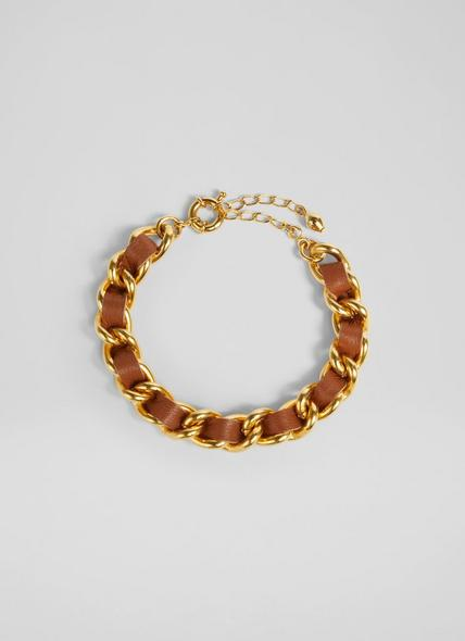 Izzy Tan Leather and Gold-Plated Chain Bracelet