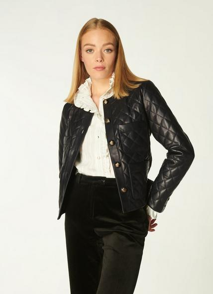 Albany Black Quilted Leather Jacket