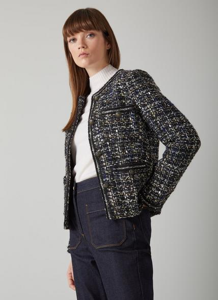 Leena Black Lurex Tweed Jacket