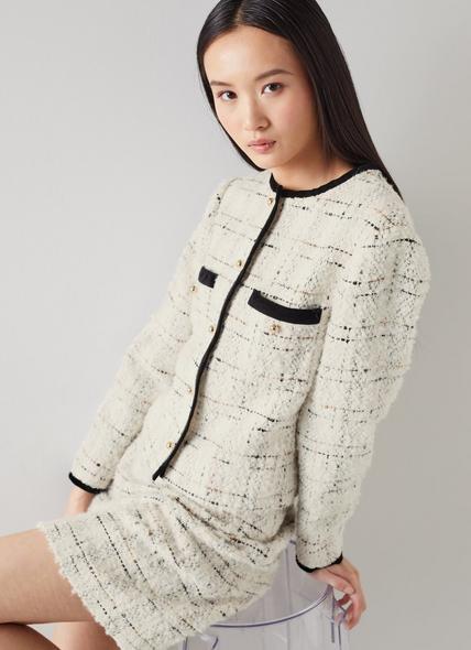 Silvia Cream Lurex Boucle Tweed Jacket