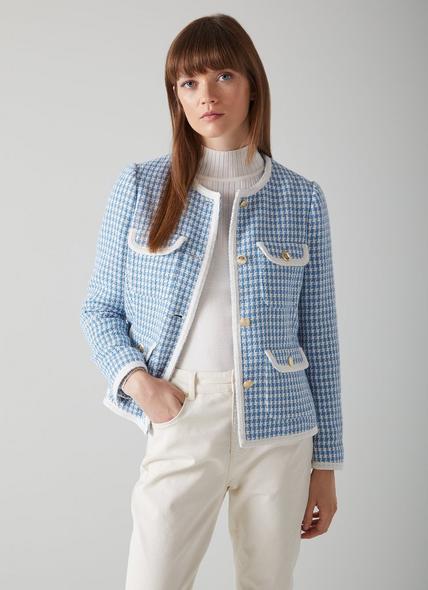 Valentina Blue and Cream Houndstooth Tweed Jacket