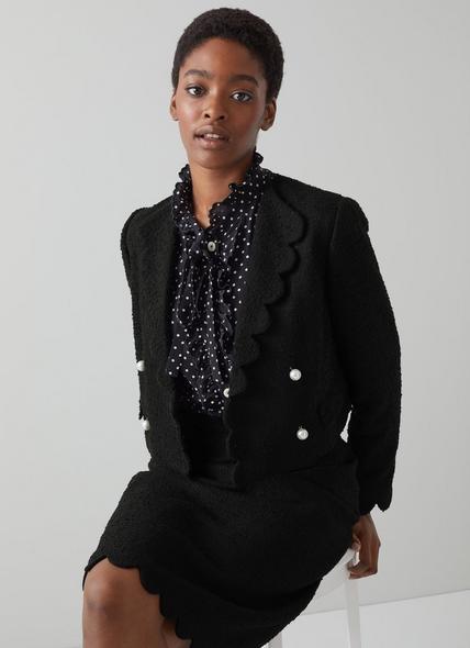 Venice Black Tweed Scallop Edge Cropped Jacket