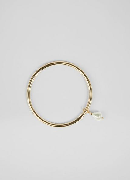 Ashleigh Pearl Drop Gold-Plated Bangle