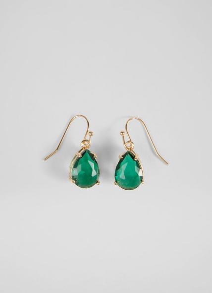 Celine Gold-Plated Emerald Crystal Drop Earrings