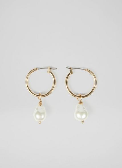 Jules Pearl Drop Gold-Plated Hoop Earrings