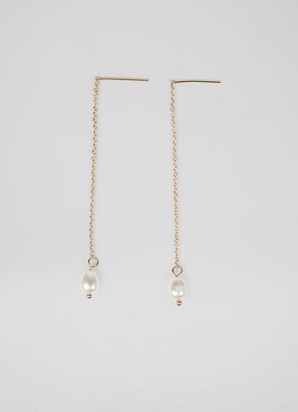 Natalie Pearl Drop Gold-Plated Chain Earrings