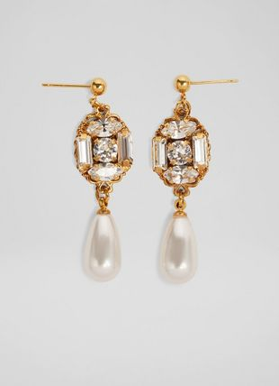 Eva Crystal and Pearl Drop Gold-Plated Earrings