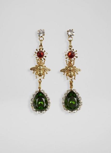 Scarlett Jewelled and Gold Bug Drop Earrings