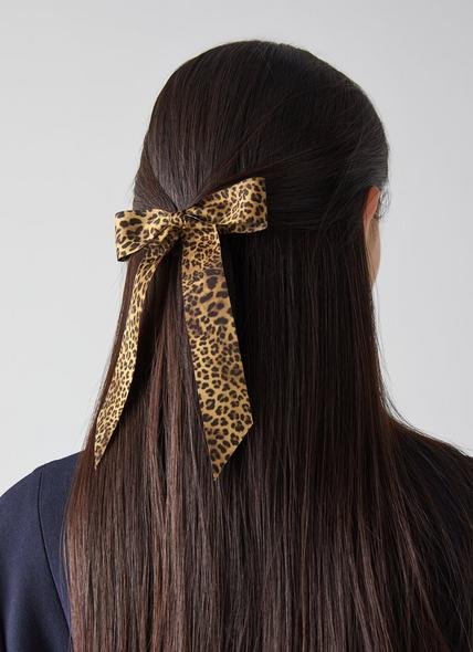 Violet Leopard Print Grosgrain Ribbon Hair Clip