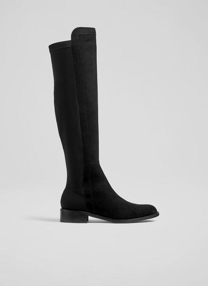Bronte Black Suede and Elastic Knee-High Boots