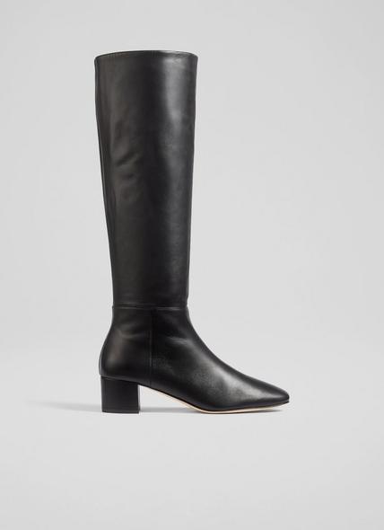 Karen Black Leather Knee-High Boots