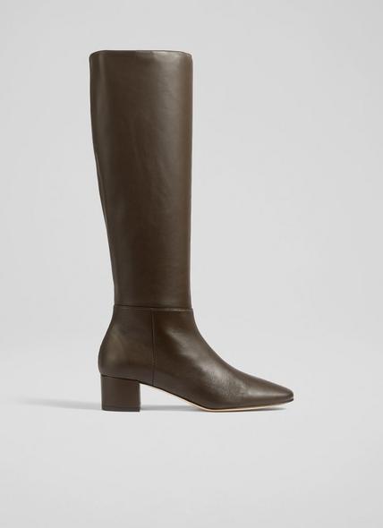 Karen Brown Leather Knee-High Boots