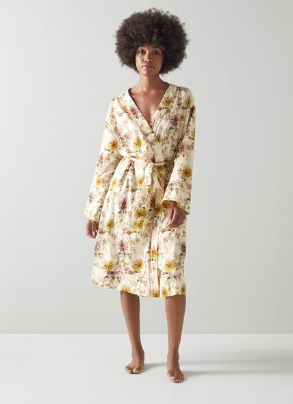 Amelia Floral Print Cream Cotton Robe