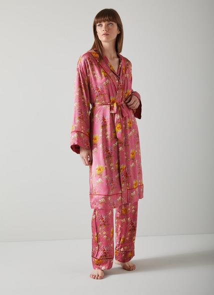 Amelia Floral Print Pink Silk Robe