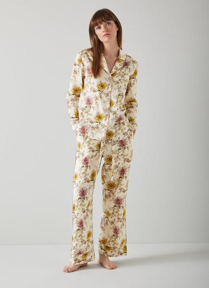 Ava Floral Print Cream Cotton Pyjamas