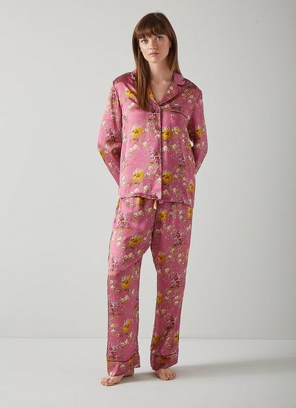 Ava Floral Print Pink Silk Pyjamas