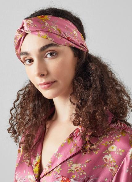 Billie Floral Print Pink Silk Headband