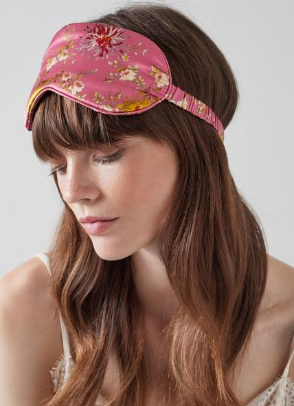 Bloomsbury Floral Print Pink Silk Eye Mask