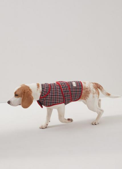 Darcy Houndstooth Check Wool-Blend Dog Coat