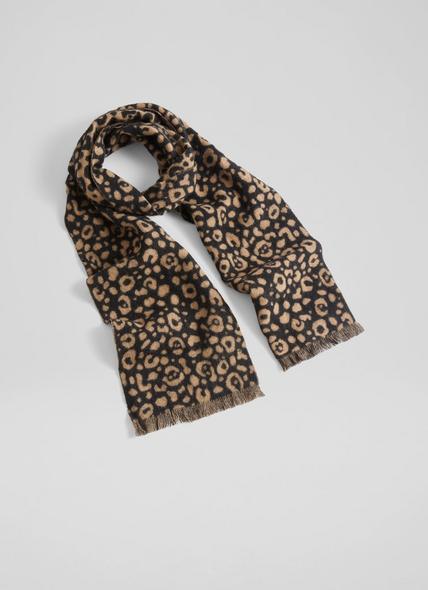 Brooke Leopard Print Wool Scarf