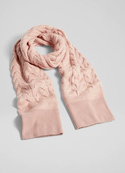 Michelle Pink Mohair-Blend Cable Knit Scarf