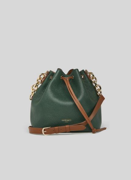 Eliza Green Leather Bucket Bag