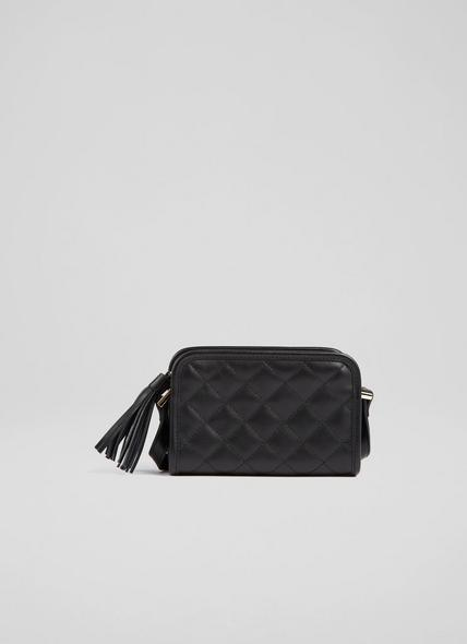Emma Black Leather Quilted Crossbody Bag