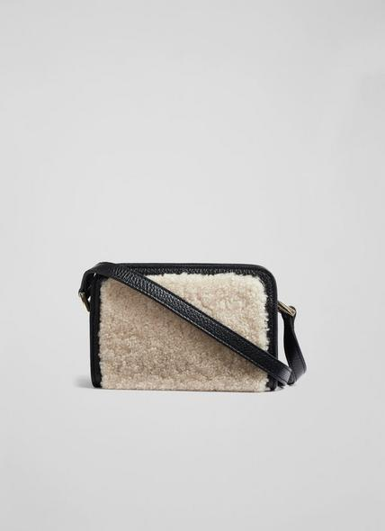Ginny Black Leather and Shearling Crossbody Bag