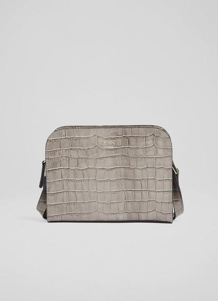 Marie Grey Croc-Effect Leather Crossbody Bag